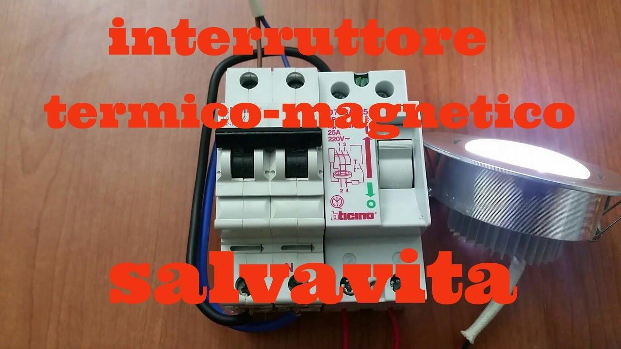 Schema Collegamento Differenziale Magnetotermico : Salvavita interruttore magnetico termico youtube