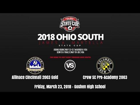 2018 Ohio South State Cup U15 | Alliance Cincinnati B03 Gold Vs  Crew SC Pre-Academy 2003