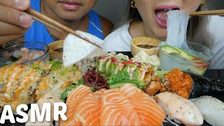 ASMR SUSHI Salmon sashimi, 911 Roll, Super crunch roll & Nigiris Eating Sound Mukbang| N.E Let's Eat