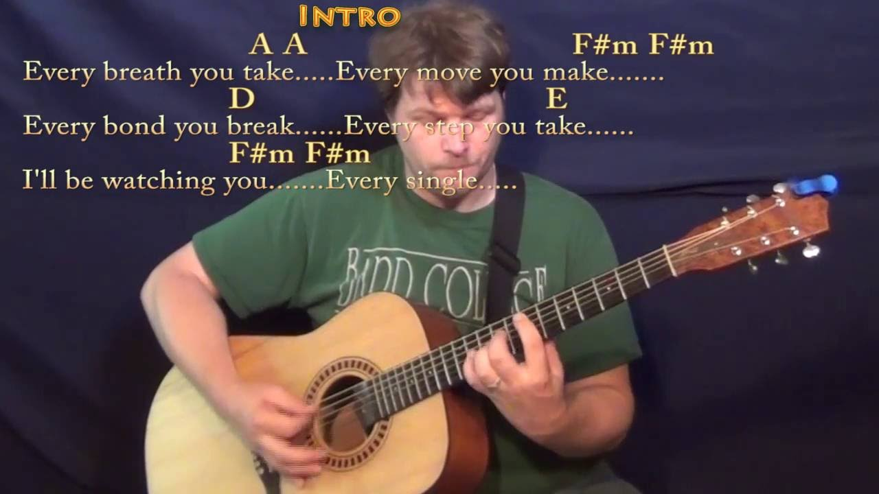Every Breath You Take Police Guitar Lesson Chord Chart With On