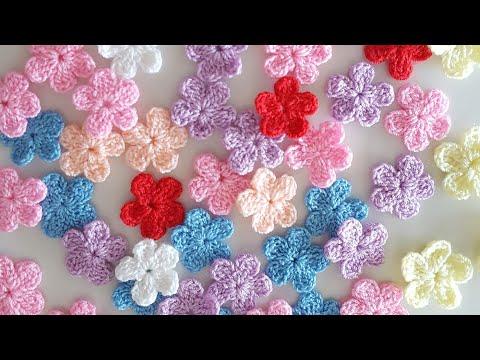 สอนวิธีถักโครเชต์ ดอกไม้ขนาดเล็ก5กลีบ   How to crochet a small flower