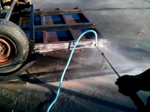 Wet Sandblasting Trailer Using Northern Tool Sand Pressure Washer