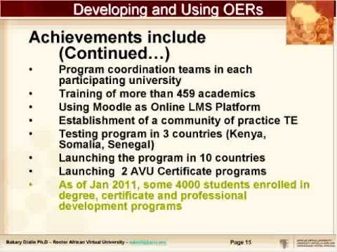 Developing and Using OERs in Africa: Lessons Learned from the African Virtual University (Webinar)