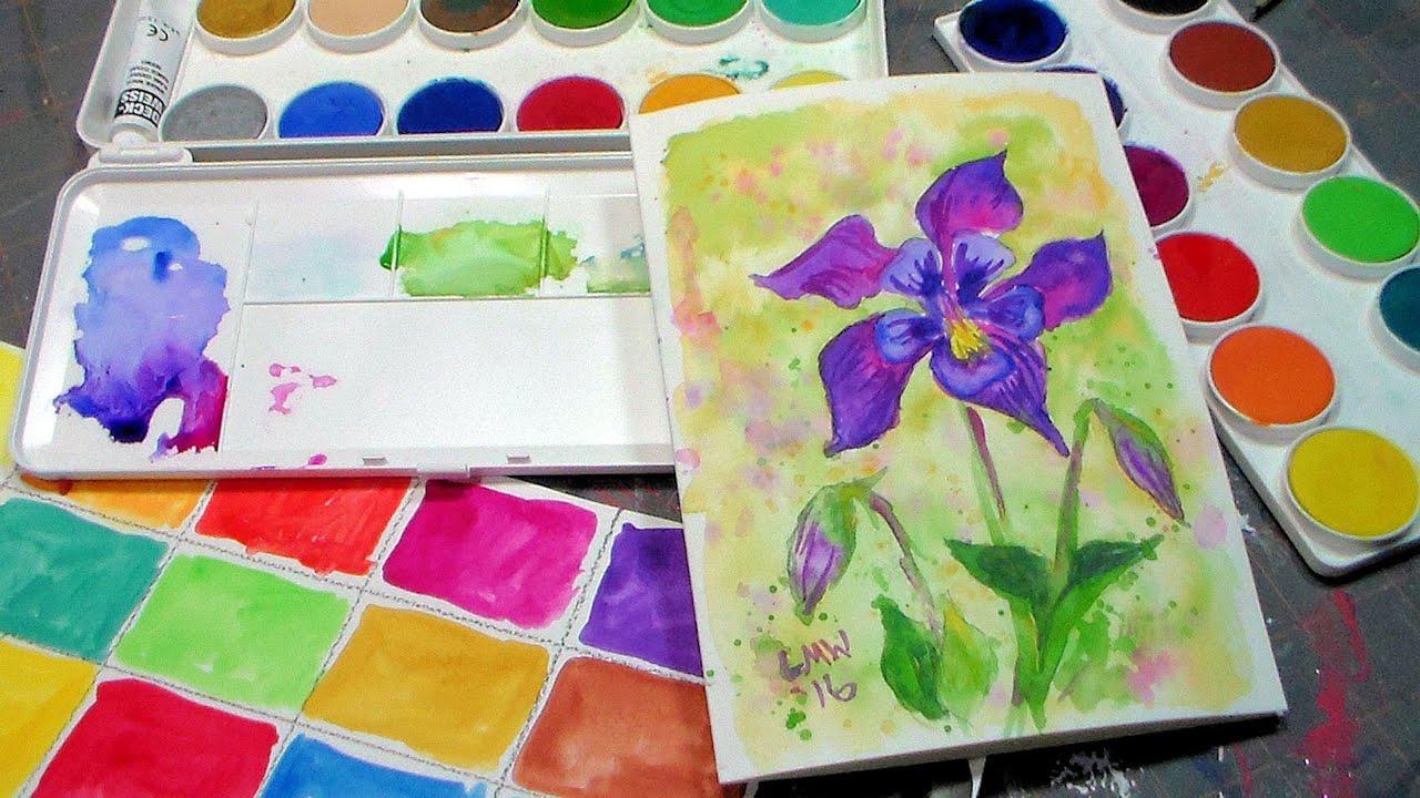 columbine flower tutorial grumbacher deluxe opaque watercolor