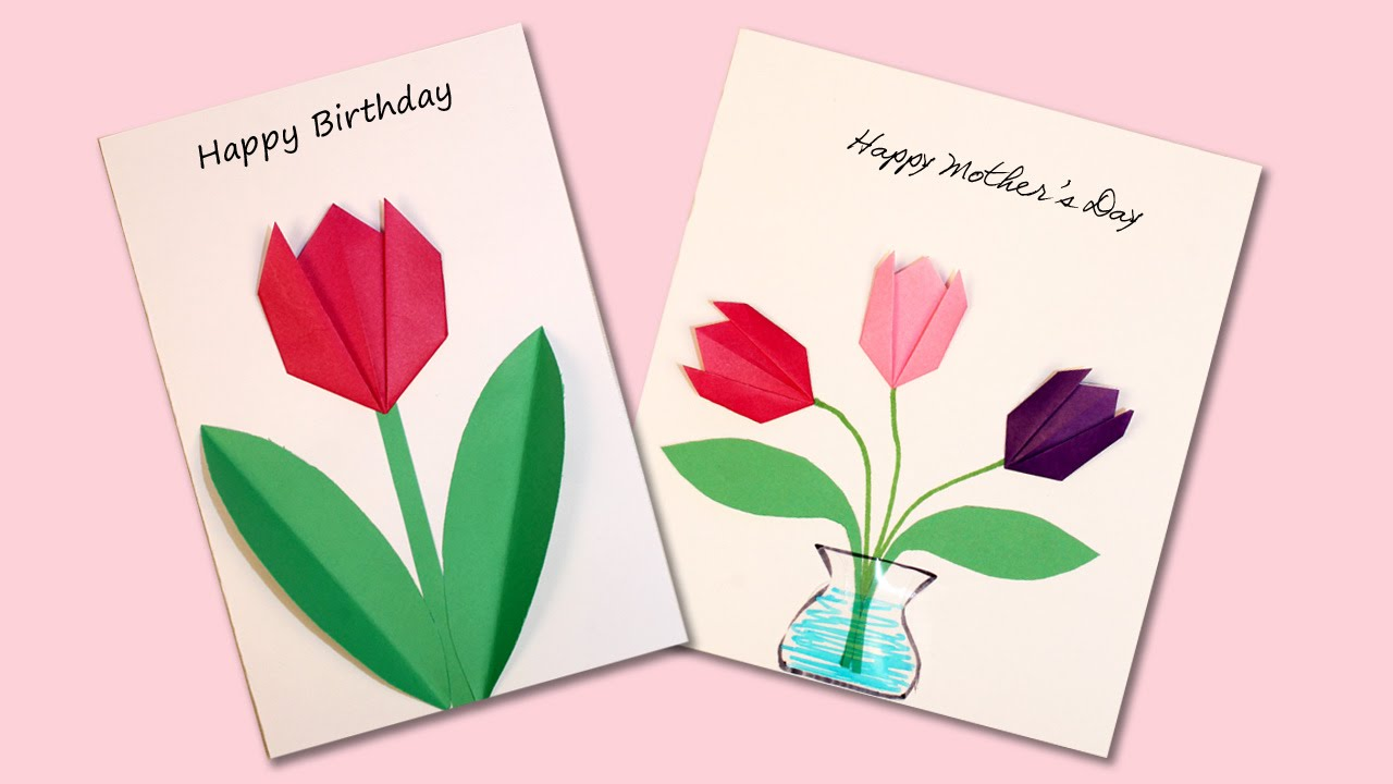 Easy Origami Flower Cards Youtube