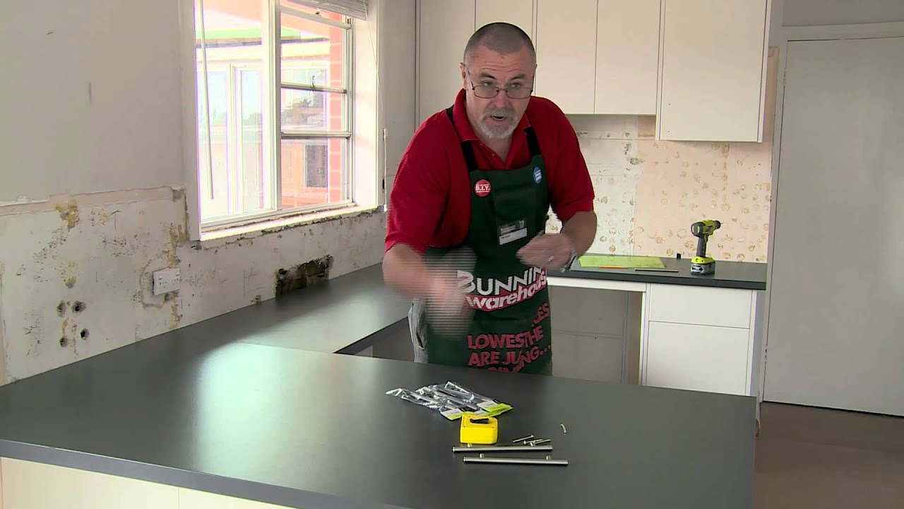 How to install handles on kitchen cabinets diy at for Hampton style kitchen handles