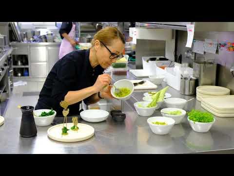 Executive chef Tanja Grandits presents the amuses in restaurant Stucki Basel