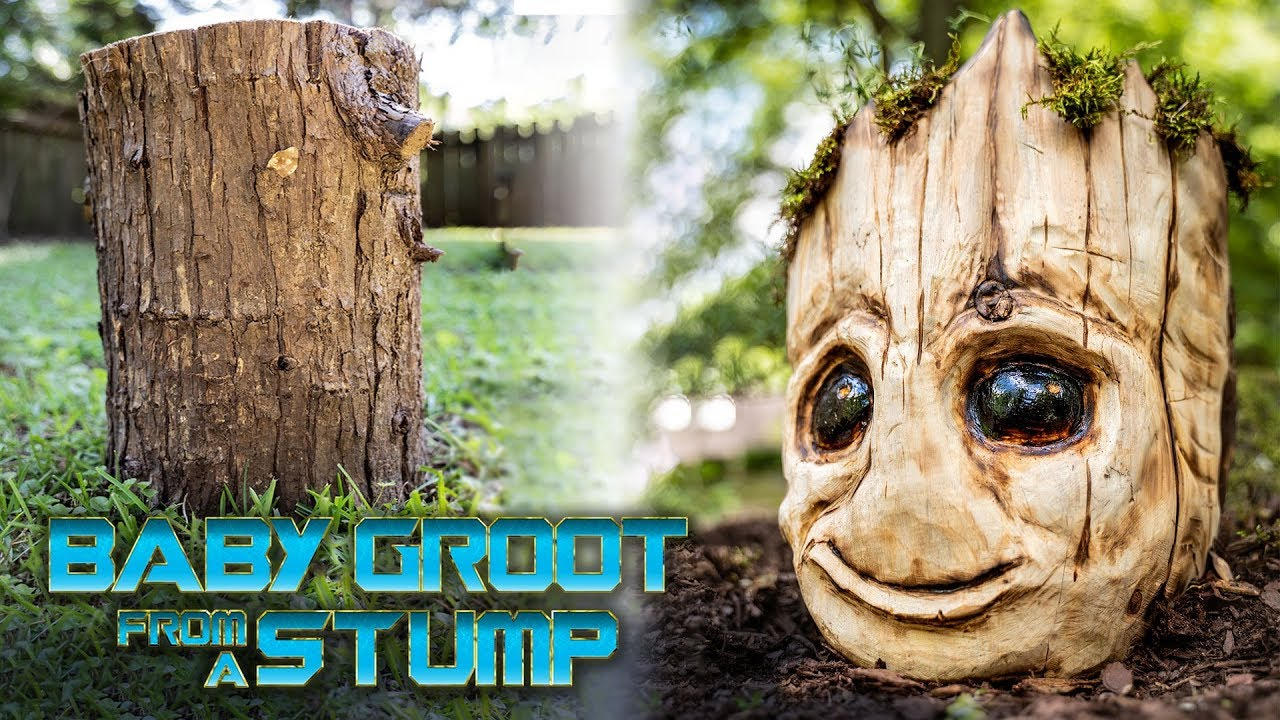 Carving A Baby Groot Planter Out Of Wood