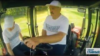 Александр Лукашенко косит траву на тракторе. Главный эфир