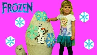 Disney FROZEN videos Super GIANT Olaf Surprise EGG Let It Go ELSA  Anna