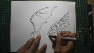 Dibujando ALAS (Distintas)  a lapiz en vivo