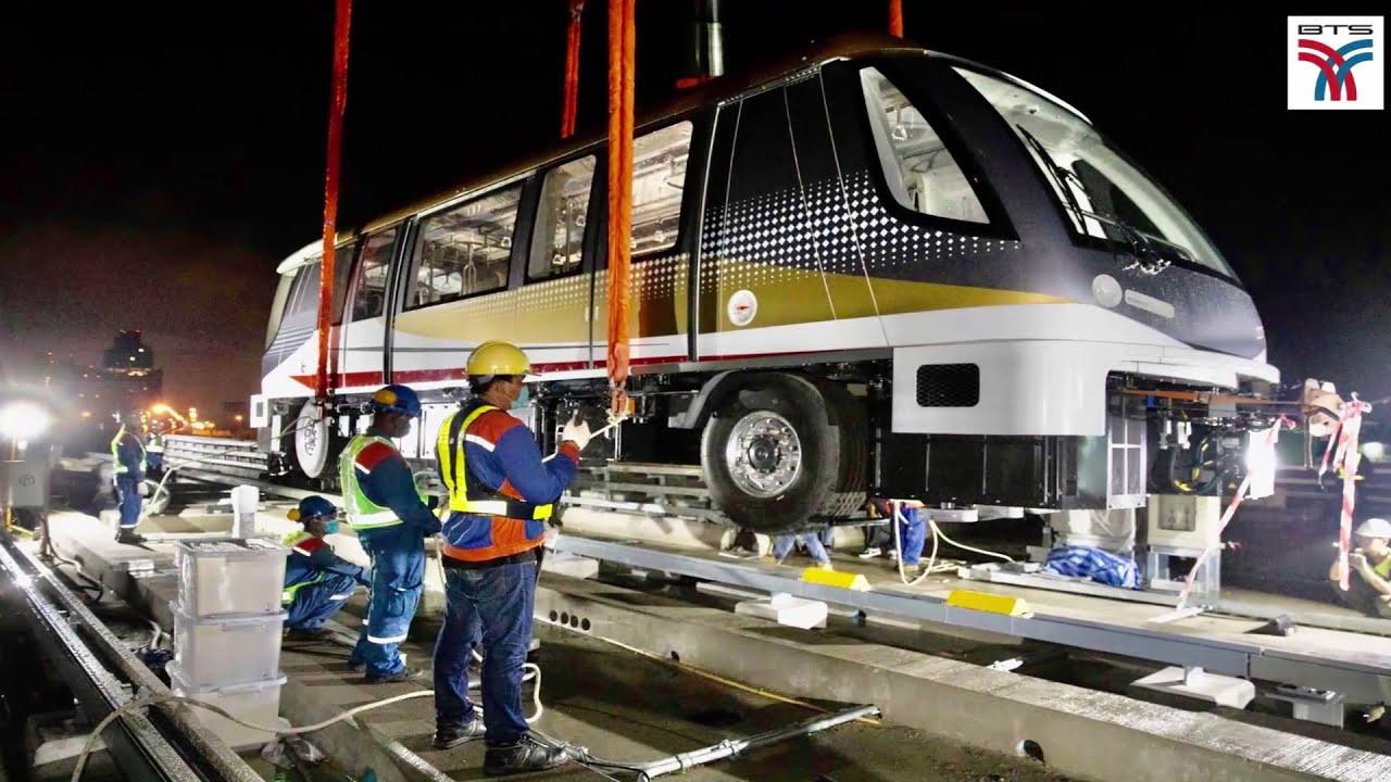 ขึ้นบ้านแล้ว!! รถไฟฟ้าสายสีทอง รถไฟฟ้าล้อยาง วิ่งเส้นทาง กรุงธนบุรี - คลองสาน