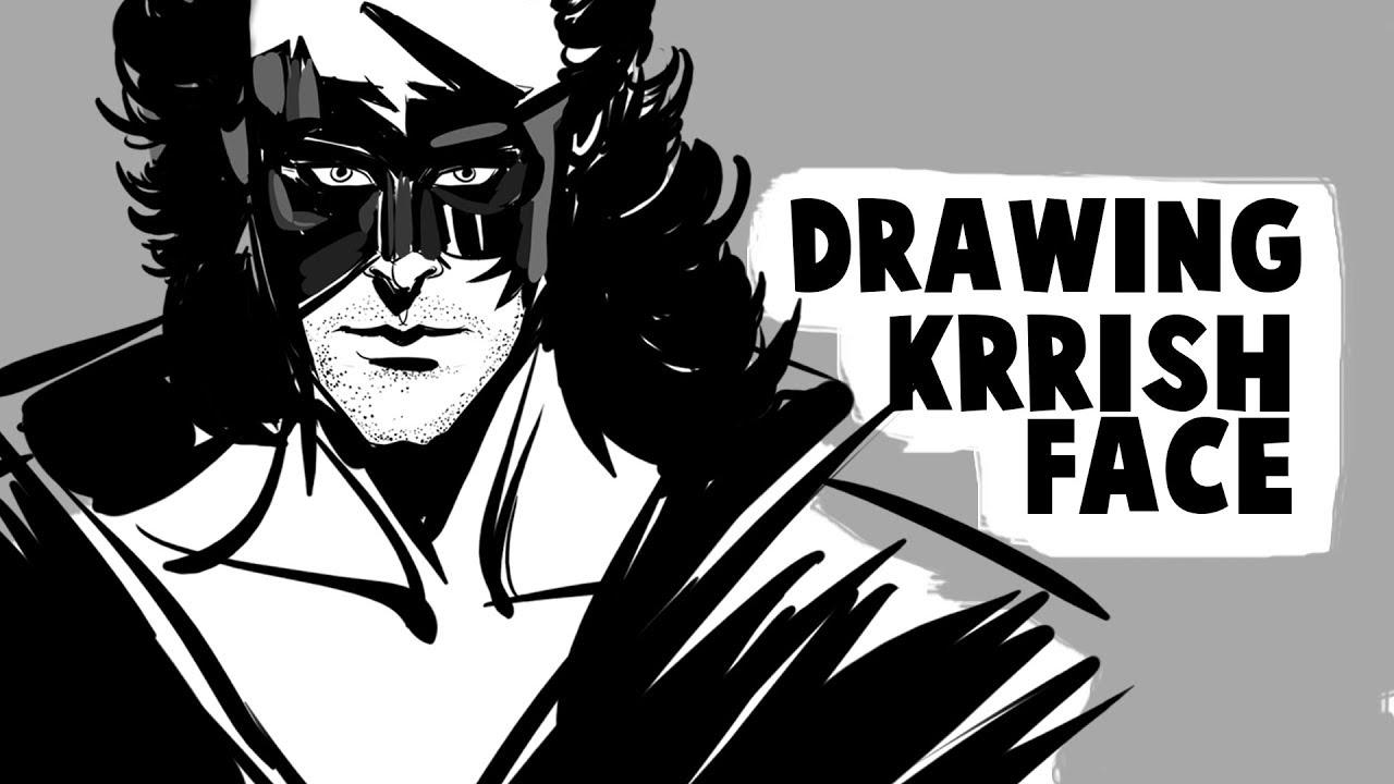 Inking style drawing of krrish face how to draw hritik roshan krrish face in krita
