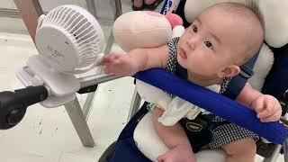유모차 선풍기의 용도를 새로 발견한 아기 !!