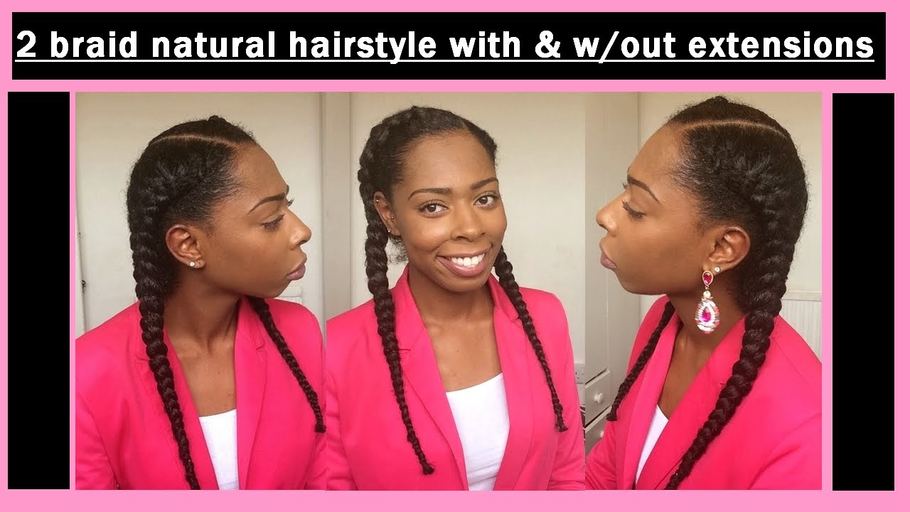 Two french braid natural hairstyle with without extensions uk two french braid natural hairstyle with without extensions uk natural hair youtube ccuart Image collections