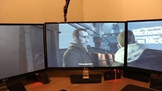 Triple Screen Setup GTA 4 Gameplay!