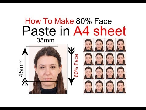 How To Make 80% Face Passport Photo And Past In A4 Sheet In Hindi