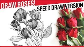 Speed Draw Version - How To Draw A Rose Bouquet