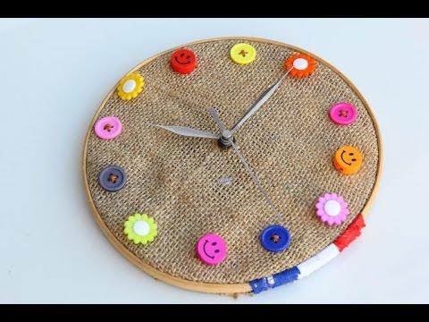 7bb6451b10e9a  طريقة عمل ساعة حائط بخامات بسيطة جدا - YouTube