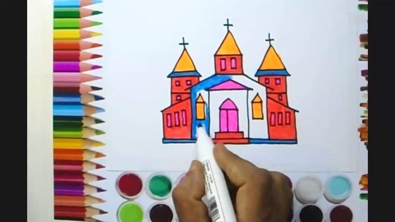How to Draw a Church | Church Draw & Color | Church - YouTube