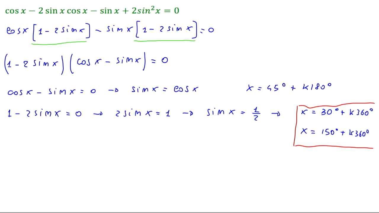 Equazioni goniometriche: cos(x) - 2sin(x)cos(x) - sin(x ...
