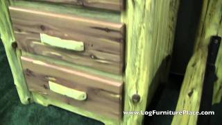Red Cedar 3 Drawer Log Nightstand By Diamond Point | Red Cedar Log Furniture From Jhe's