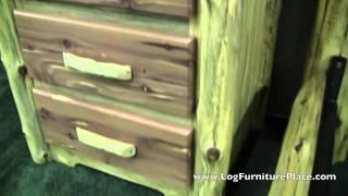 Red Cedar 3 Drawer Log Nightstand by Diamond Point | Red Cedar Log Furniture from JHE's