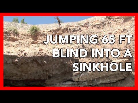 HOLY BALLS. Real Scary Cliff Jumping In Oman Sinkhole, 65 Ft BOOMSHAKALALAKA Take 2