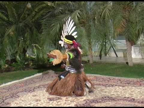 Torres Strait Islander boy from Saibai Island performs in Abu Dhabi