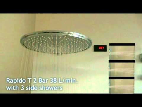 grohe training rapido t flow with head hand and side showers youtube. Black Bedroom Furniture Sets. Home Design Ideas