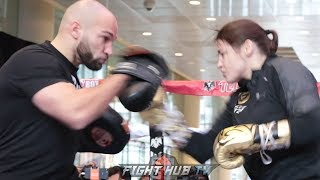 KATIE TAYLOR THROWS BOMBS AT HER MADISON SQUARE GARDEN OPEN WORKOUT