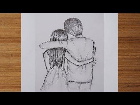 วาดรูปผู้หญิงกับผู้ชาย คู่รัก |แรเงาดินสอ | How to draw couple love |Sketching