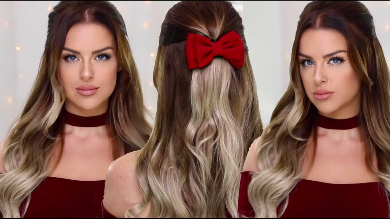New Years Party Hair Half Up Bouncy Waves Hairstyle Youtube
