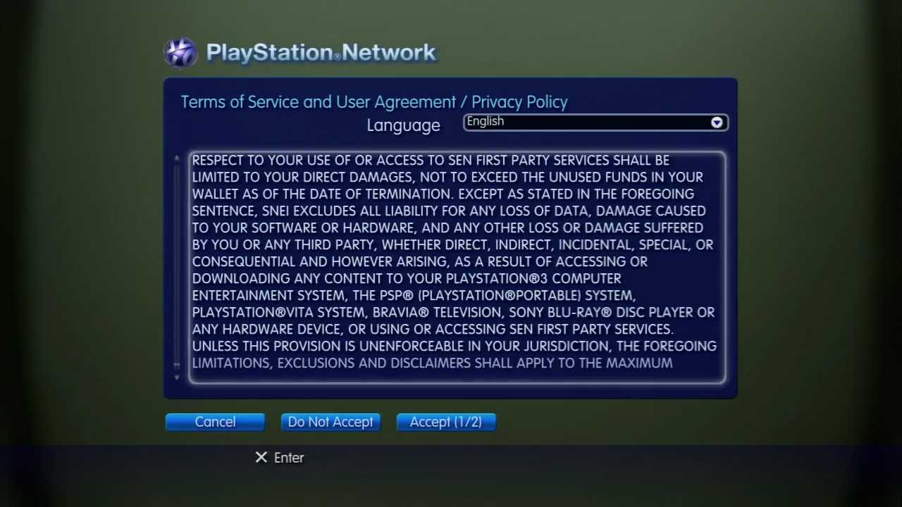 Playstation Network Terms Of Service And User Agreement Version
