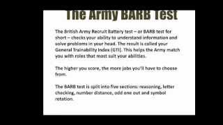 The Army BARB Test - The British Army Recruit Battery Test