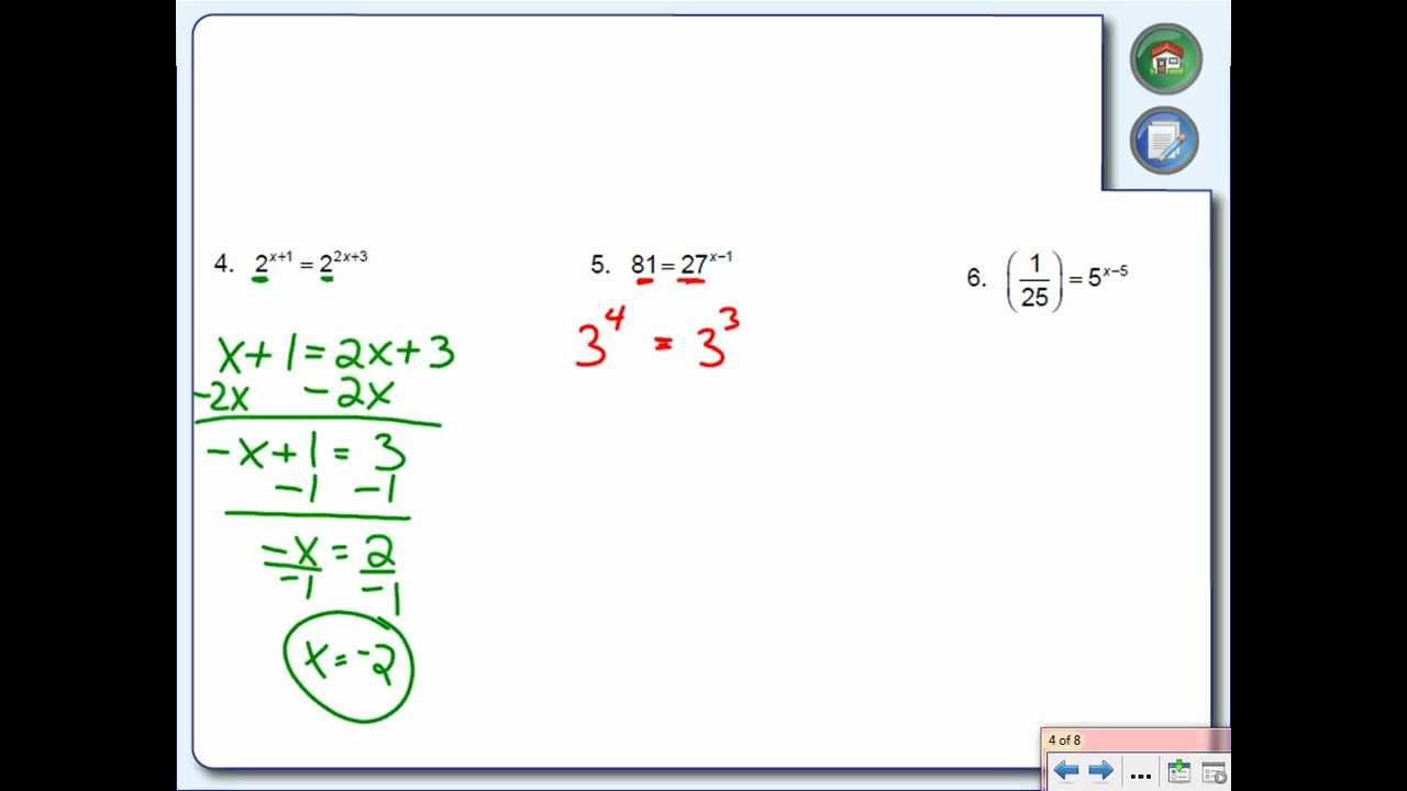 Solving Exponential Equations And Inequalities Youtube