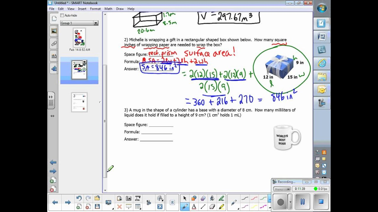 worksheet Surface Area Word Problems m7 volume and surface area word problems notes youtube notes