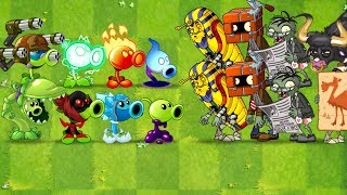 Plants vs Zombies 2 Mod ALL PEA MAX LEVEL POWER-UP! vs Pharaoh, Newspaper, Camel, Rodeo Legend