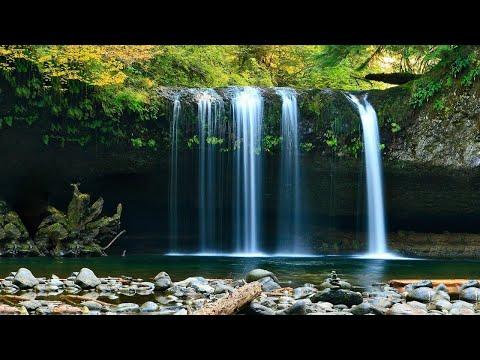 Fondo de Pantalla en Movimiento de Cascada con música relajante para dormir 4k / Wallpaper waterfall