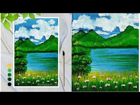 Landscape painting easy | Landscape painting for beginners | scenery drawing |Easy acrylic landscape