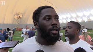 Miami Dolphins DE Charles Harris on scuffles in the 'dog days of training camp'.