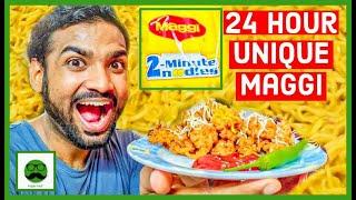 24 HOUR MAGGI Challenge  Kuch Bhi Unique 2 Minute Maggi Recipe  Maggi Pizza  Veggie Paaji