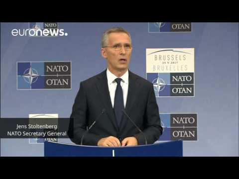 Jens Stoltenberg speaks after a NATO summit in Brussels