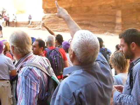 Guide Abu Rumi explains Petra, Jordan