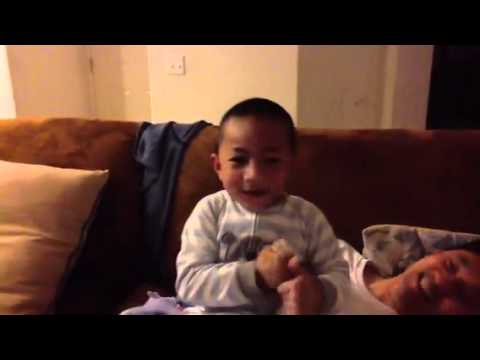Little boy singing mama Mia