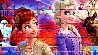 Принцессы АННА и ЭЛЬЗА СВЕН и ОЛАФ Холодное Сердце 2 собираем пазлы для детей Холодное Сердце Frozen