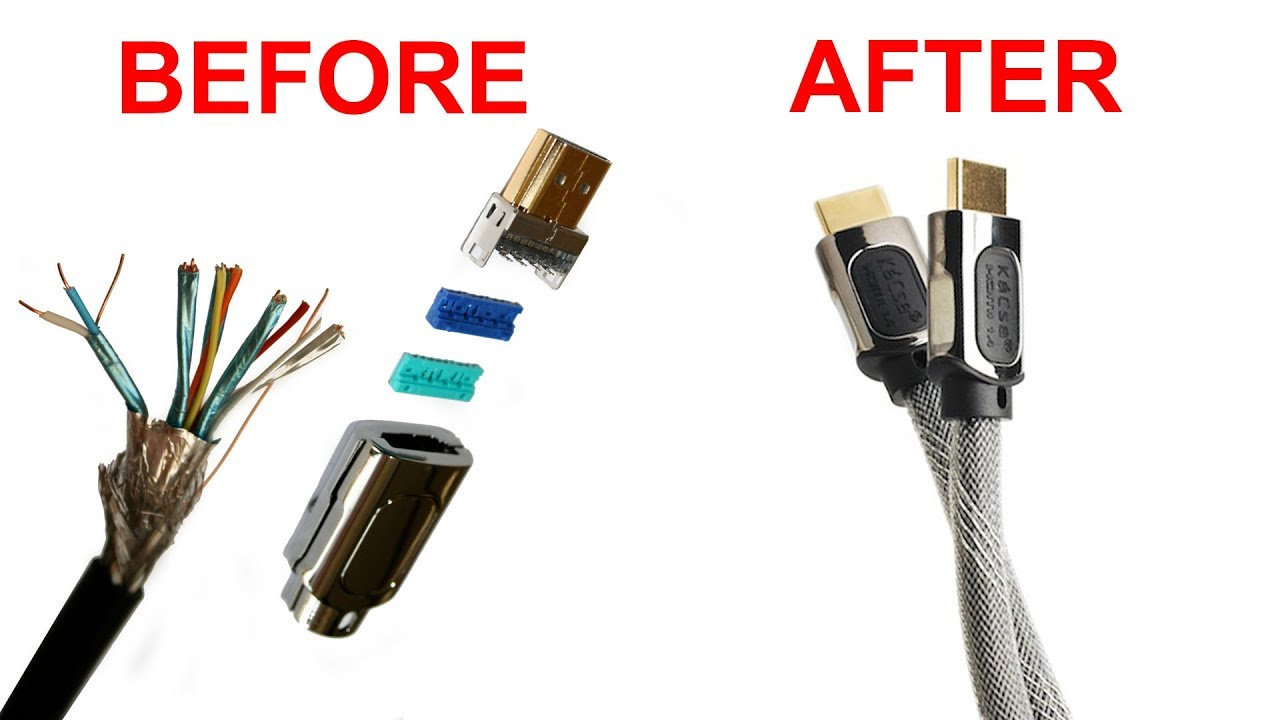 How to assemble a HDMI cable - YouTubeYouTube