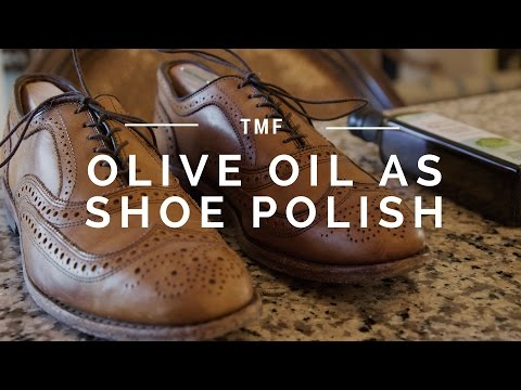 Use Olive Oil Extra Virgin Olive Oil, $12, Amazon Dip a cloth in some olive oil, rub it over your shoes, leave it for 20 minutes, then wipe off with a clean cloth.