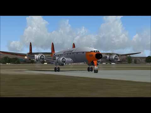 LOCKHEED C 121C SUPER CONSTELLATION USNAVY TAKE OFF FROM GLASGOW INTL AIRPORT FS9 HD