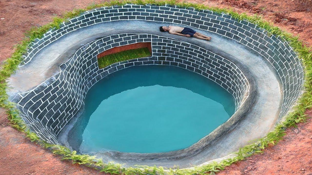 Dig To Build Underground Swimming Pool Water Slide Around Secret  Underground House